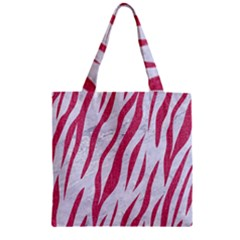 Skin3 White Marble & Pink Denim (r) Zipper Grocery Tote Bag by trendistuff