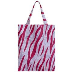Skin3 White Marble & Pink Denim (r) Zipper Classic Tote Bag by trendistuff