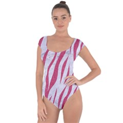 Skin3 White Marble & Pink Denim (r) Short Sleeve Leotard