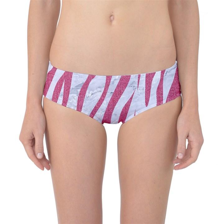 SKIN3 WHITE MARBLE & PINK DENIM (R) Classic Bikini Bottoms