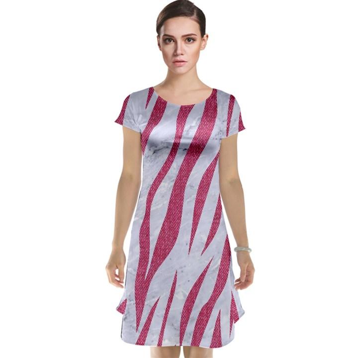 SKIN3 WHITE MARBLE & PINK DENIM (R) Cap Sleeve Nightdress