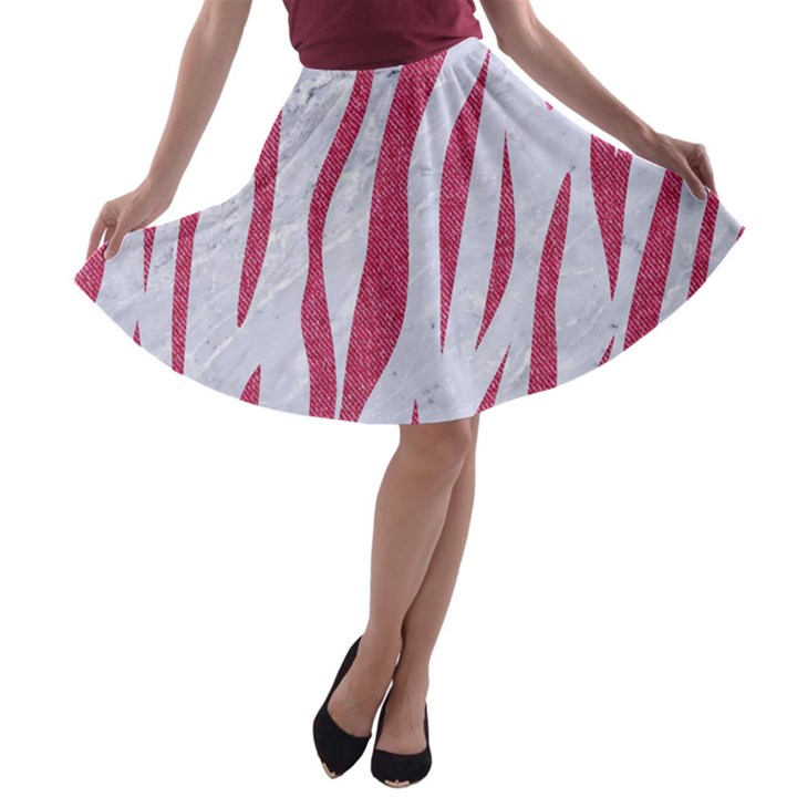 SKIN3 WHITE MARBLE & PINK DENIM (R) A-line Skater Skirt