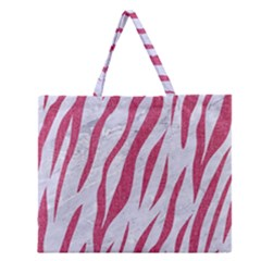 Skin3 White Marble & Pink Denim (r) Zipper Large Tote Bag by trendistuff