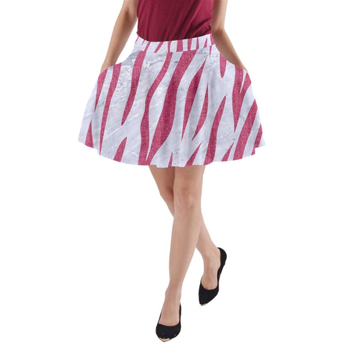 SKIN3 WHITE MARBLE & PINK DENIM (R) A-Line Pocket Skirt