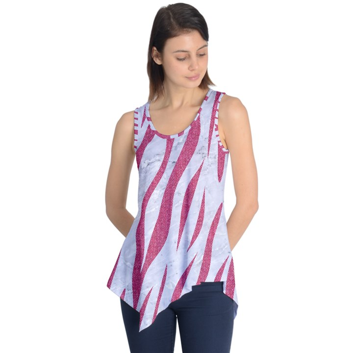 SKIN3 WHITE MARBLE & PINK DENIM (R) Sleeveless Tunic