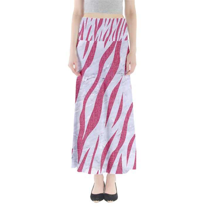 SKIN3 WHITE MARBLE & PINK DENIM (R) Full Length Maxi Skirt