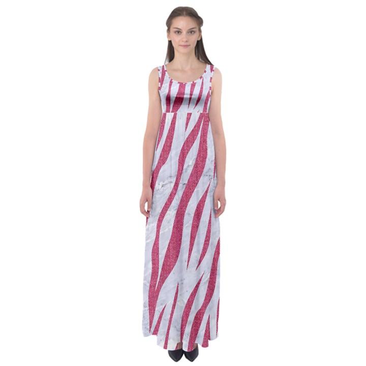 SKIN3 WHITE MARBLE & PINK DENIM (R) Empire Waist Maxi Dress