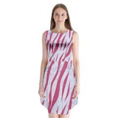 Skin3 White Marble & Pink Denim (r) Sleeveless Chiffon Dress