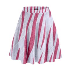 Skin3 White Marble & Pink Denim (r) High Waist Skirt