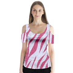 Skin3 White Marble & Pink Denim (r) Butterfly Sleeve Cutout Tee