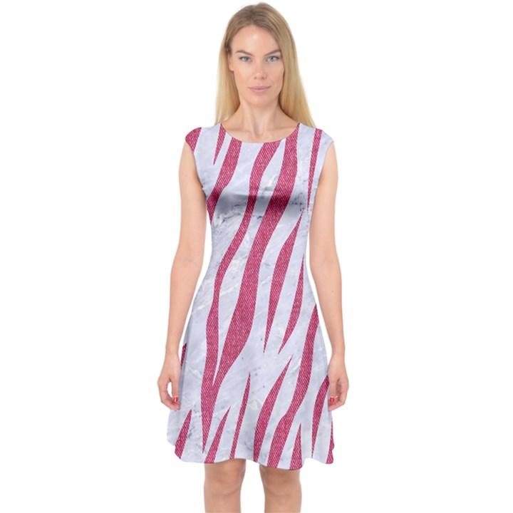 SKIN3 WHITE MARBLE & PINK DENIM (R) Capsleeve Midi Dress