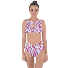 Skin3 White Marble & Pink Denim (r) Bandaged Up Bikini Set