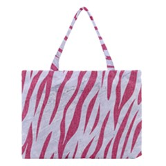Skin3 White Marble & Pink Denim (r) Medium Tote Bag