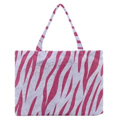 Skin3 White Marble & Pink Denim (r) Zipper Medium Tote Bag by trendistuff