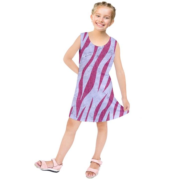 SKIN3 WHITE MARBLE & PINK DENIM (R) Kids  Tunic Dress