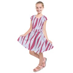 Skin3 White Marble & Pink Denim (r) Kids  Short Sleeve Dress