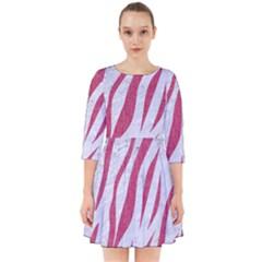Skin3 White Marble & Pink Denim (r) Smock Dress