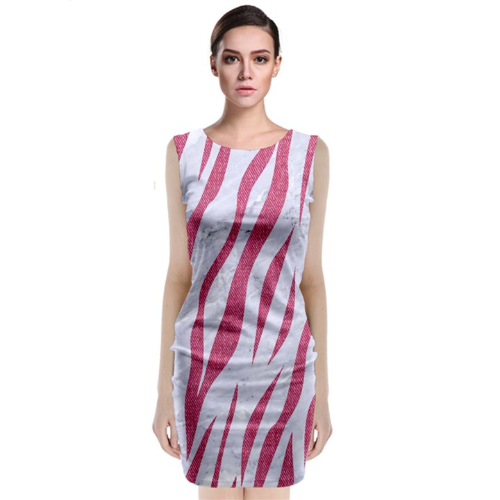 SKIN3 WHITE MARBLE & PINK DENIM (R) Sleeveless Velvet Midi Dress