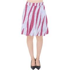 Skin3 White Marble & Pink Denim (r) Velvet High Waist Skirt
