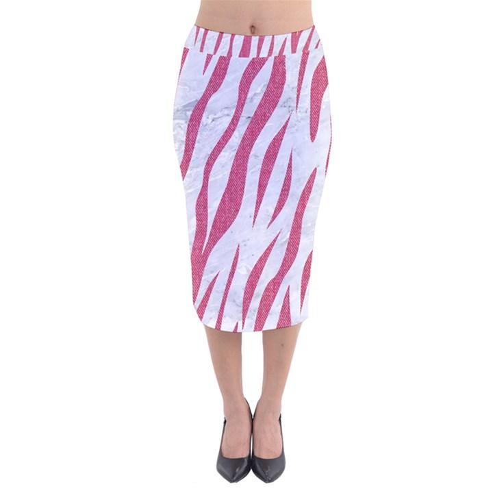 SKIN3 WHITE MARBLE & PINK DENIM (R) Velvet Midi Pencil Skirt