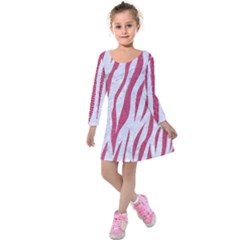 Skin3 White Marble & Pink Denim (r) Kids  Long Sleeve Velvet Dress