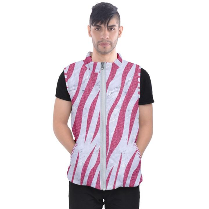 SKIN3 WHITE MARBLE & PINK DENIM (R) Men s Puffer Vest