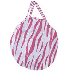 Skin3 White Marble & Pink Denim (r) Giant Round Zipper Tote by trendistuff