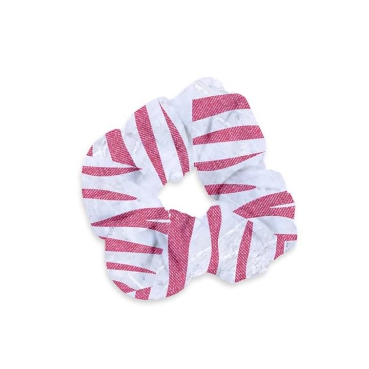SKIN3 WHITE MARBLE & PINK DENIM (R) Velvet Scrunchie