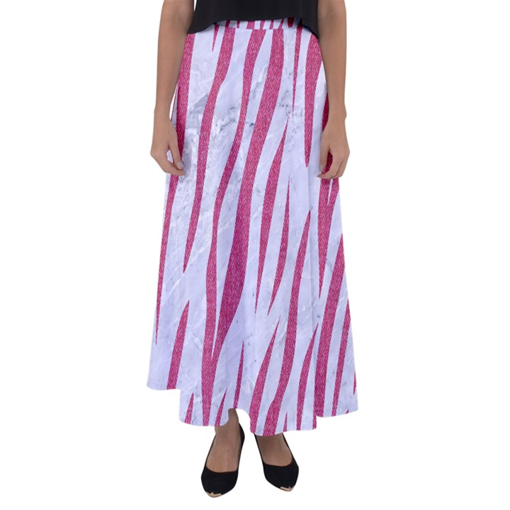 SKIN3 WHITE MARBLE & PINK DENIM (R) Flared Maxi Skirt