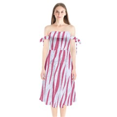 Skin3 White Marble & Pink Denim (r) Shoulder Tie Bardot Midi Dress