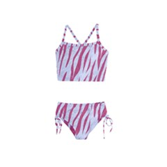 Skin3 White Marble & Pink Denim (r) Girls  Tankini Swimsuit