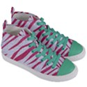 SKIN3 WHITE MARBLE & PINK DENIM (R) Women s Mid-Top Canvas Sneakers View3