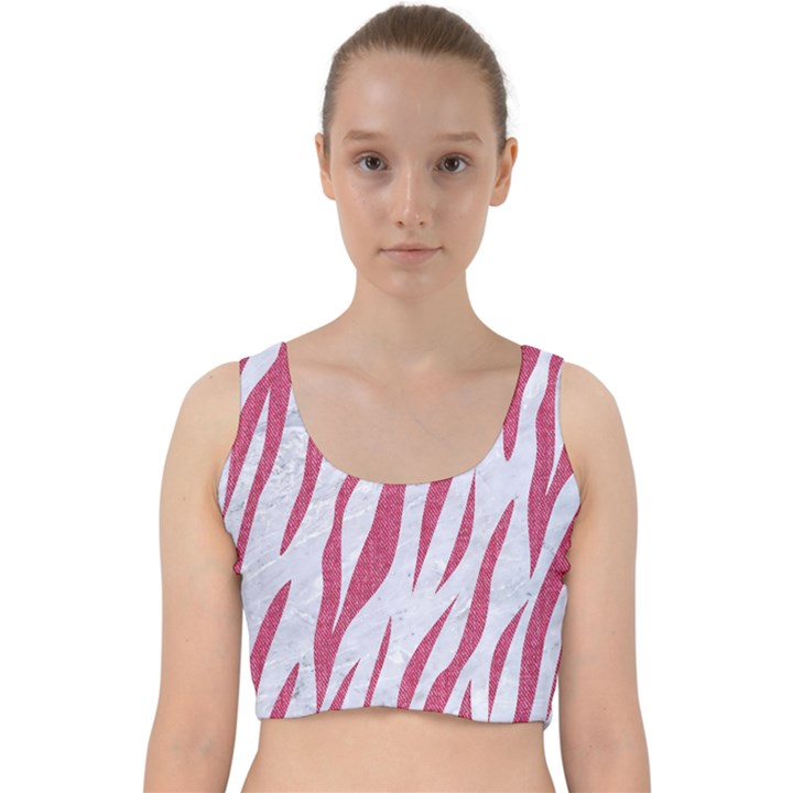 SKIN3 WHITE MARBLE & PINK DENIM (R) Velvet Racer Back Crop Top