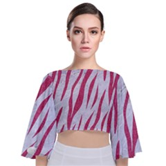 Skin3 White Marble & Pink Denim (r) Tie Back Butterfly Sleeve Chiffon Top