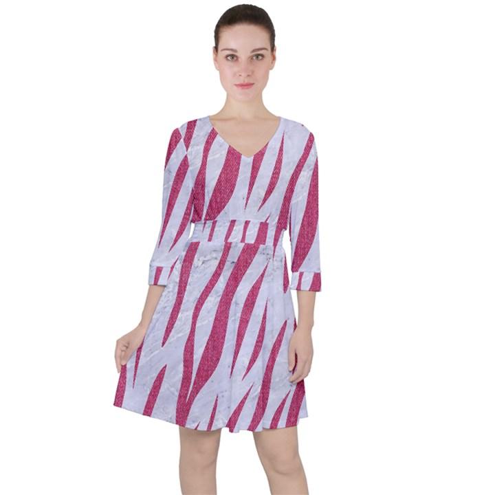 SKIN3 WHITE MARBLE & PINK DENIM (R) Ruffle Dress
