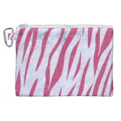 Skin3 White Marble & Pink Denim (r) Canvas Cosmetic Bag (xl)