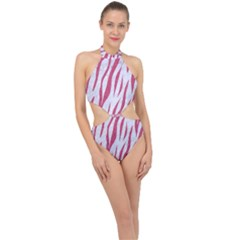 Skin3 White Marble & Pink Denim (r) Halter Side Cut Swimsuit