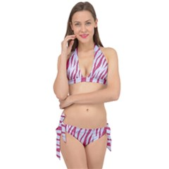 Skin3 White Marble & Pink Denim (r) Tie It Up Bikini Set