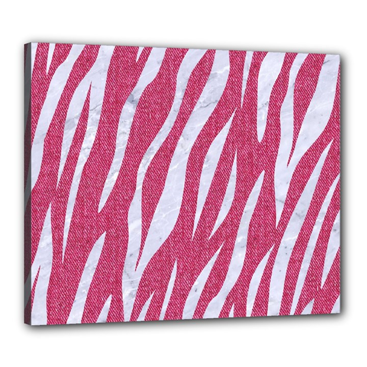 SKIN3 WHITE MARBLE & PINK DENIM Canvas 24  x 20