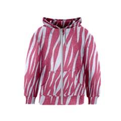 Skin3 White Marble & Pink Denim Kids  Zipper Hoodie