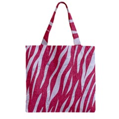 Skin3 White Marble & Pink Denim Zipper Grocery Tote Bag by trendistuff