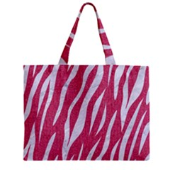 Skin3 White Marble & Pink Denim Zipper Mini Tote Bag by trendistuff