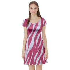Skin3 White Marble & Pink Denim Short Sleeve Skater Dress
