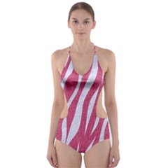 Skin3 White Marble & Pink Denim Cut Out One Piece Swimsuit