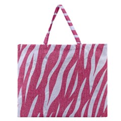 Skin3 White Marble & Pink Denim Zipper Large Tote Bag by trendistuff