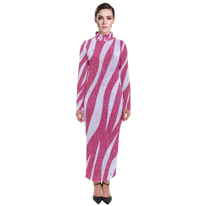 SKIN3 WHITE MARBLE & PINK DENIM Turtleneck Maxi Dress