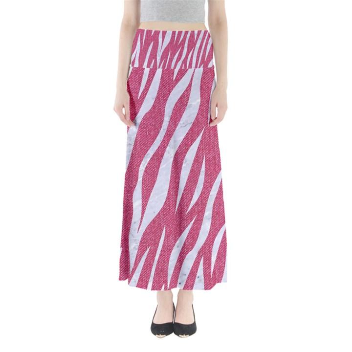SKIN3 WHITE MARBLE & PINK DENIM Full Length Maxi Skirt