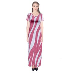 Skin3 White Marble & Pink Denim Short Sleeve Maxi Dress