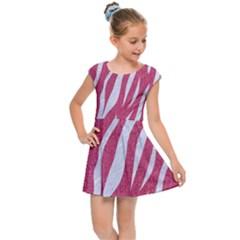 SKIN3 WHITE MARBLE & PINK DENIM Kids Cap Sleeve Dress