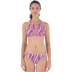 Skin3 White Marble & Pink Denim Perfectly Cut Out Bikini Set